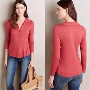 Anthropologie POSTMARK ribbed henley top XS